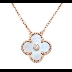 "14k solid gold clover 18"" cz necklace"